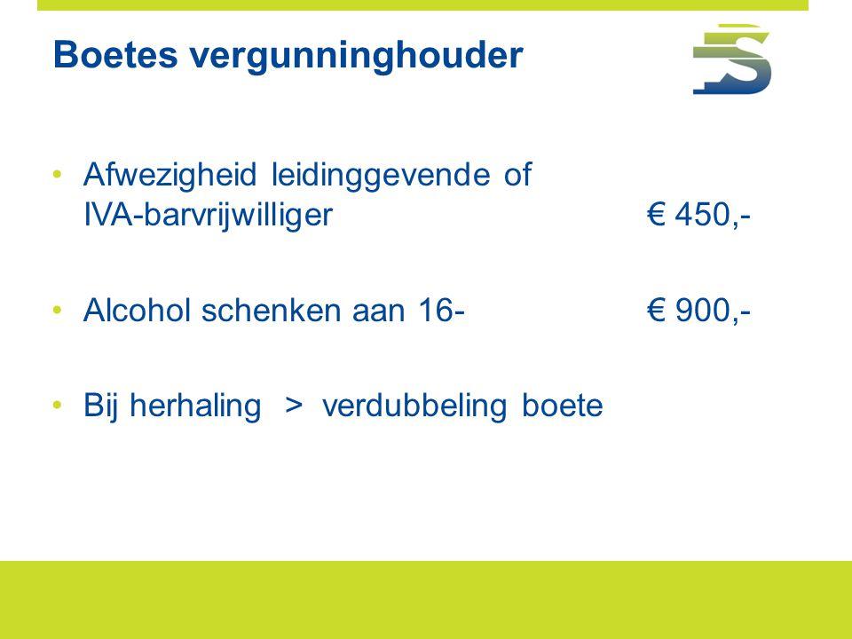 Boetes vergunninghouder •Afwezigheid leidinggevende of IVA-barvrijwilliger € 450,- •Alcohol schenken aan 16-€ 900,- •Bij herhaling > verdubbeling boet
