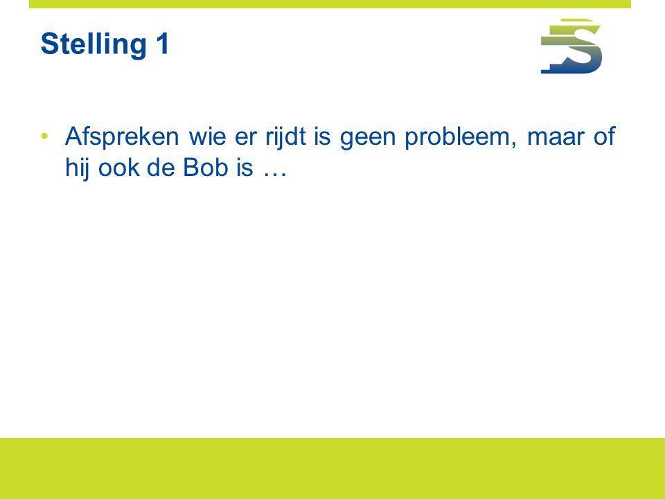 Stelling 1 •Afspreken wie er rijdt is geen probleem, maar of hij ook de Bob is …