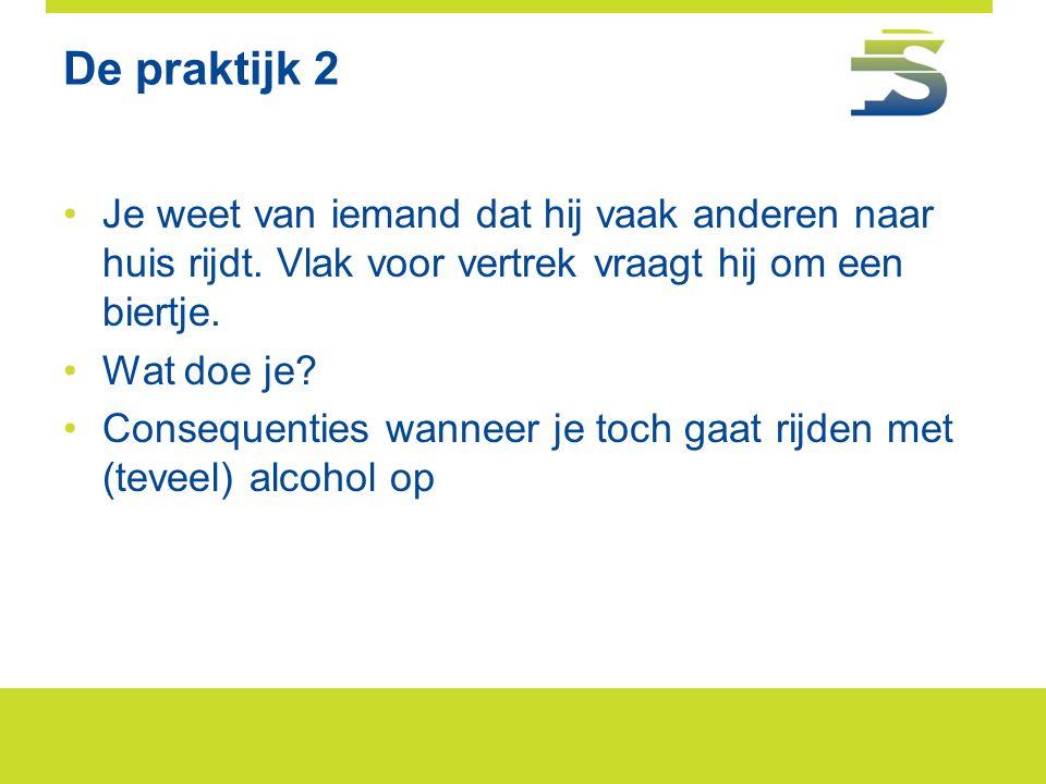 De praktijk 2 •Je weet van iemand dat hij vaak anderen naar huis rijdt. Vlak voor vertrek vraagt hij om een biertje. •Wat doe je? •Consequenties wanne