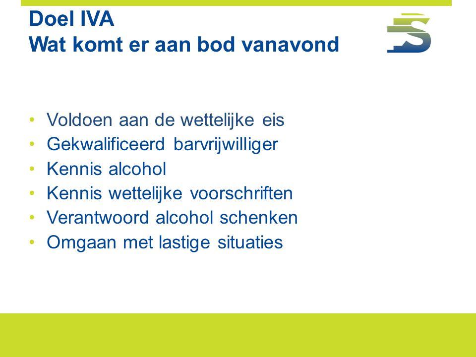 Doel IVA Wat komt er aan bod vanavond •Voldoen aan de wettelijke eis •Gekwalificeerd barvrijwilliger •Kennis alcohol •Kennis wettelijke voorschriften