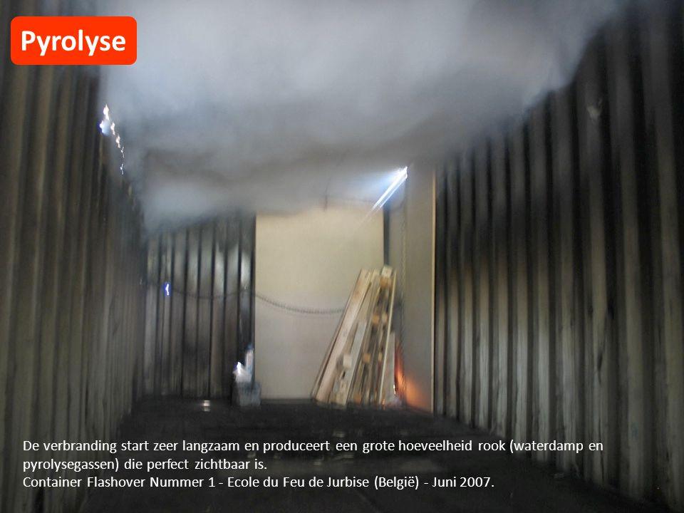De verbranding start zeer langzaam en produceert een grote hoeveelheid rook (waterdamp en pyrolysegassen) die perfect zichtbaar is.