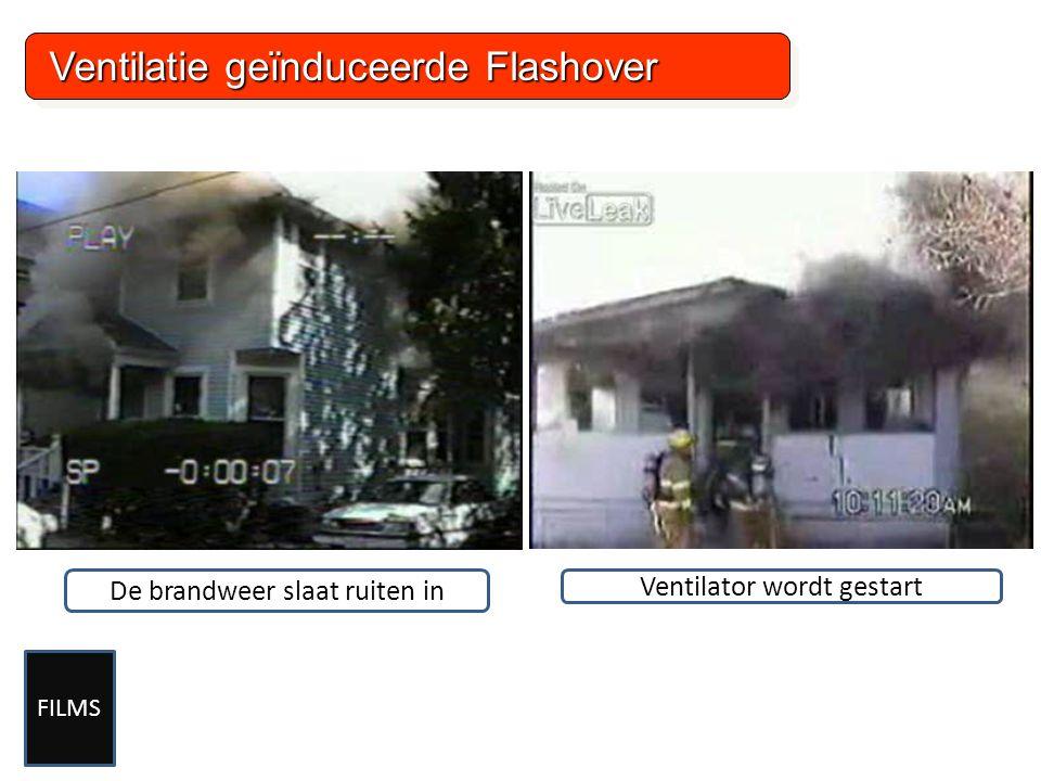 Ventilatie geïnduceerde Flashover Ventilatie geïnduceerde Flashover De brandweer slaat ruiten in Ventilator wordt gestart FILMS