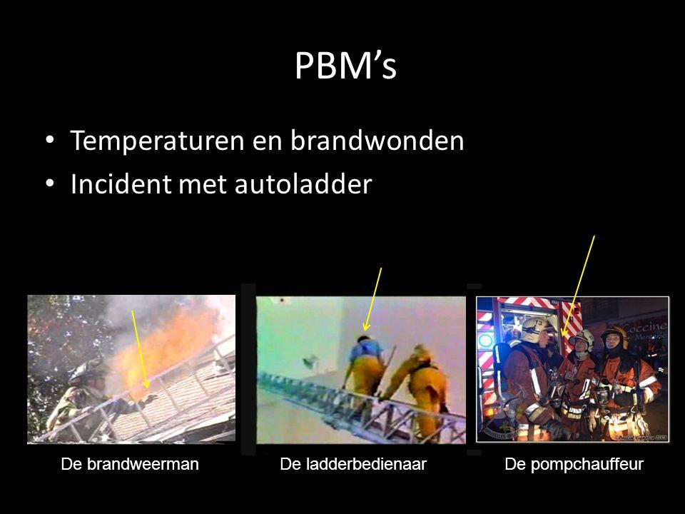 PBM's • Temperaturen en brandwonden • Incident met autoladder De brandweermanDe ladderbedienaarDe pompchauffeur