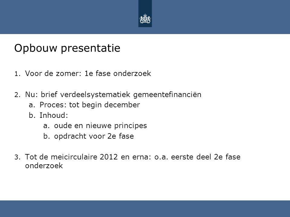 Opbouw presentatie 1. Voor de zomer: 1e fase onderzoek 2. Nu: brief verdeelsystematiek gemeentefinanciën a.Proces: tot begin december b.Inhoud: a.oude