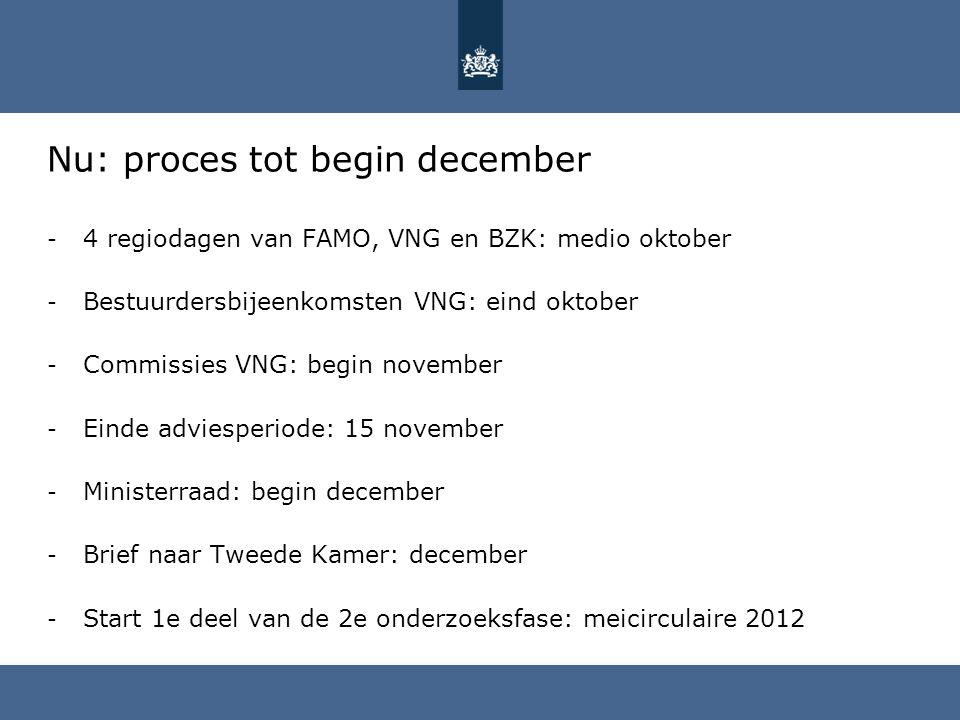 Nu: proces tot begin december - 4 regiodagen van FAMO, VNG en BZK: medio oktober - Bestuurdersbijeenkomsten VNG: eind oktober - Commissies VNG: begin