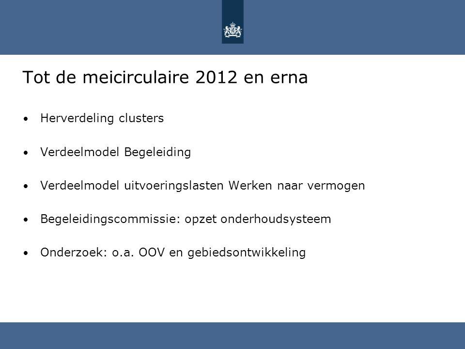 Tot de meicirculaire 2012 en erna • Herverdeling clusters • Verdeelmodel Begeleiding • Verdeelmodel uitvoeringslasten Werken naar vermogen • Begeleidi