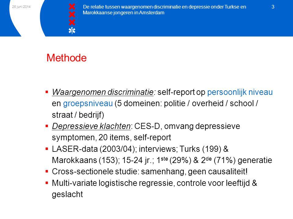 26 juni 2014 De relatie tussen waargenomen discriminatie en depressie onder Turkse en Marokkaanse jongeren in Amsterdam 3  Waargenomen discriminatie: