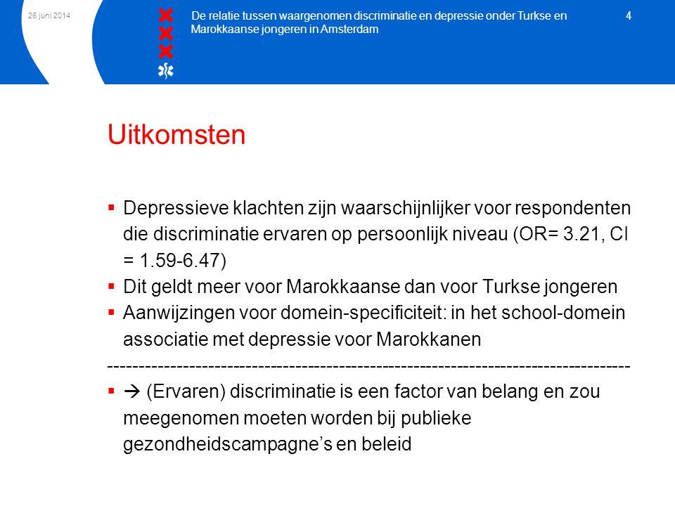 26 juni 2014 De relatie tussen waargenomen discriminatie en depressie onder Turkse en Marokkaanse jongeren in Amsterdam 4 Uitkomsten  Depressieve kla