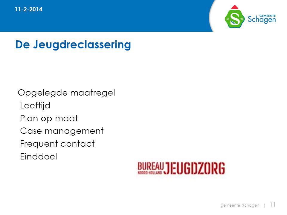 De Jeugdreclassering gemeente Schagen | 11 Opgelegde maatregel Leeftijd Plan op maat Case management Frequent contact Einddoel 11-2-2014