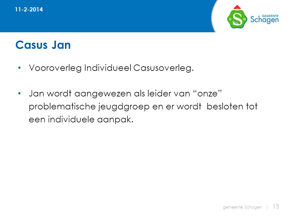 Casus Jan gemeente Schagen | 13 • Vooroverleg Individueel Casusoverleg.