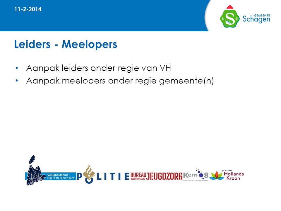 Leiders - Meelopers • Aanpak leiders onder regie van VH • Aanpak meelopers onder regie gemeente(n) 11-2-2014