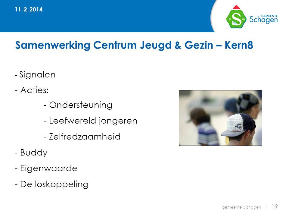 Samenwerking Centrum Jeugd & Gezin – Kern8 gemeente Schagen | 19 - Signalen - Acties: - Ondersteuning - Leefwereld jongeren - Zelfredzaamheid - Buddy - Eigenwaarde - De loskoppeling 11-2-2014