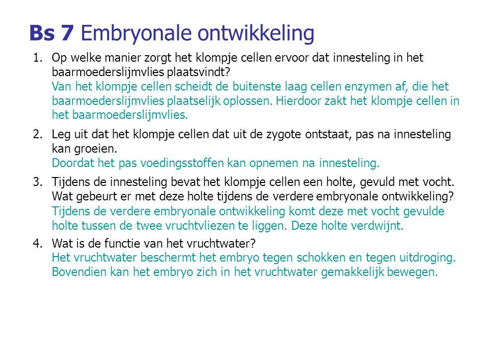 Bs 7Embryonale ontwikkeling 1.Op welke manier zorgt het klompje cellen ervoor dat innesteling in het baarmoederslijmvlies plaatsvindt.