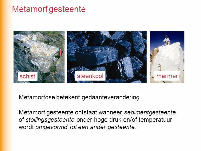 Metamorfose betekent ….. Metamorf gesteente ontstaat wanneer sedimentgesteente of stollingsgesteente onder hoge druk en/of temperatuur wordt omgevormd