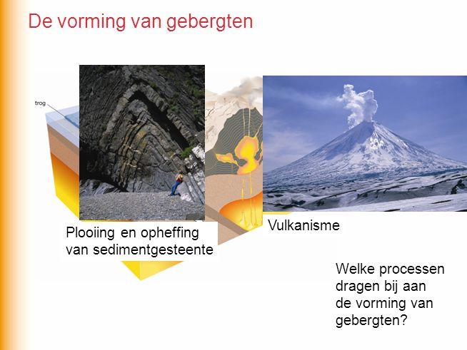 Plooiing en opheffing van sedimentgesteente Vulkanisme De vorming van gebergten Welke processen dragen bij aan de vorming van gebergten?