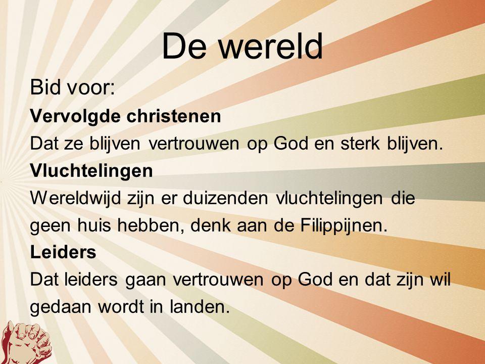 De wereld Bid voor: Vervolgde christenen Dat ze blijven vertrouwen op God en sterk blijven. Vluchtelingen Wereldwijd zijn er duizenden vluchtelingen d