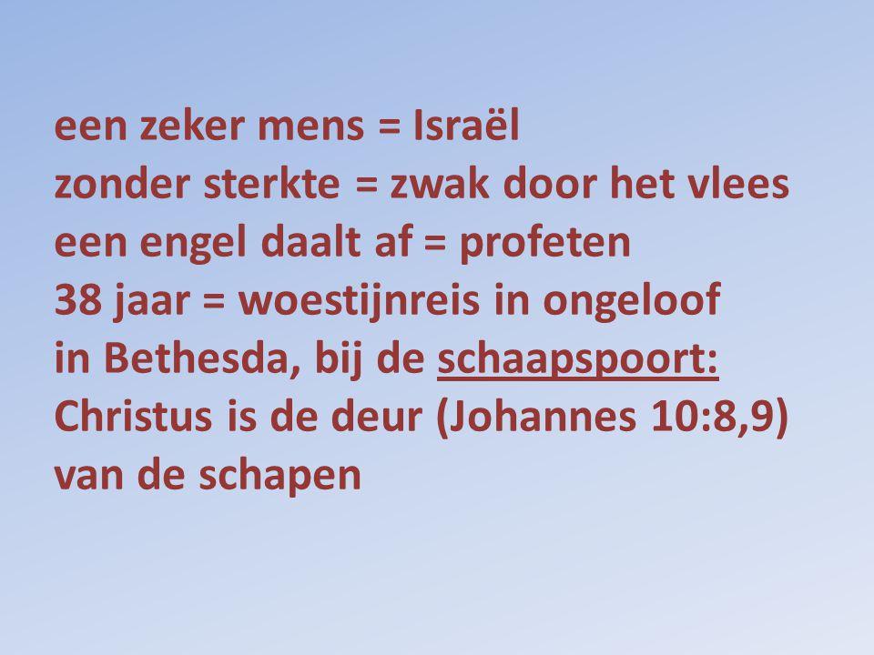 een zeker mens = Israël zonder sterkte = zwak door het vlees een engel daalt af = profeten 38 jaar = woestijnreis in ongeloof in Bethesda, bij de scha