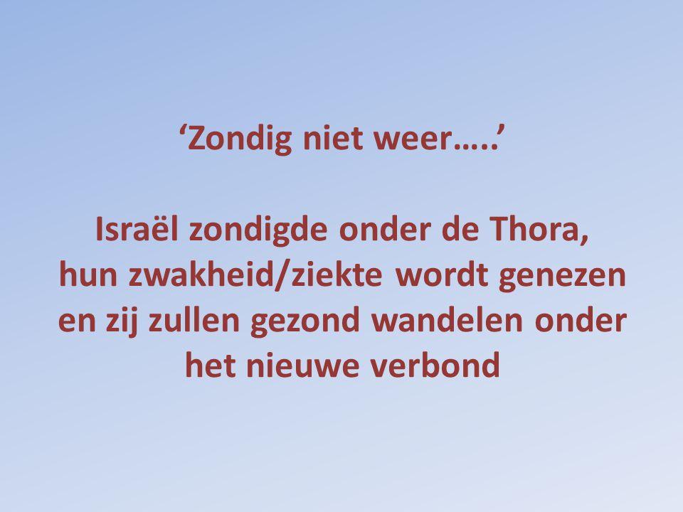 'Zondig niet weer…..' Israël zondigde onder de Thora, hun zwakheid/ziekte wordt genezen en zij zullen gezond wandelen onder het nieuwe verbond