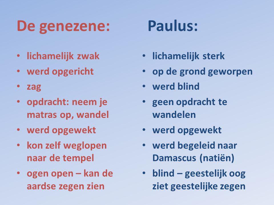 De genezene: Paulus: • lichamelijk zwak • werd opgericht • zag • opdracht: neem je matras op, wandel • werd opgewekt • kon zelf weglopen naar de tempe