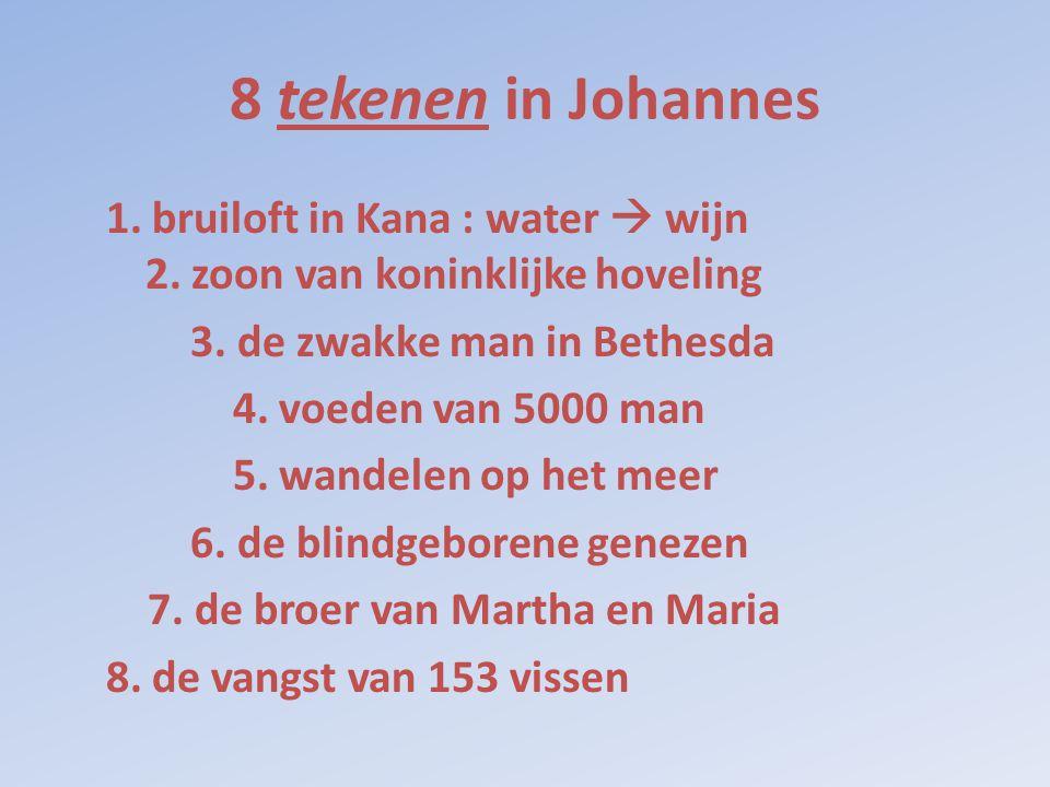 8 tekenen in Johannes 1. bruiloft in Kana : water  wijn 2. zoon van koninklijke hoveling 3. de zwakke man in Bethesda 4. voeden van 5000 man 5. wande