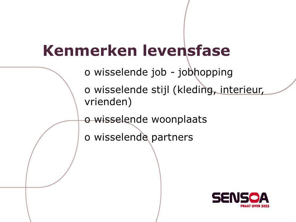 Kenmerken levensfase o wisselende job - jobhopping o wisselende stijl (kleding, interieur, vrienden) o wisselende woonplaats o wisselende partners