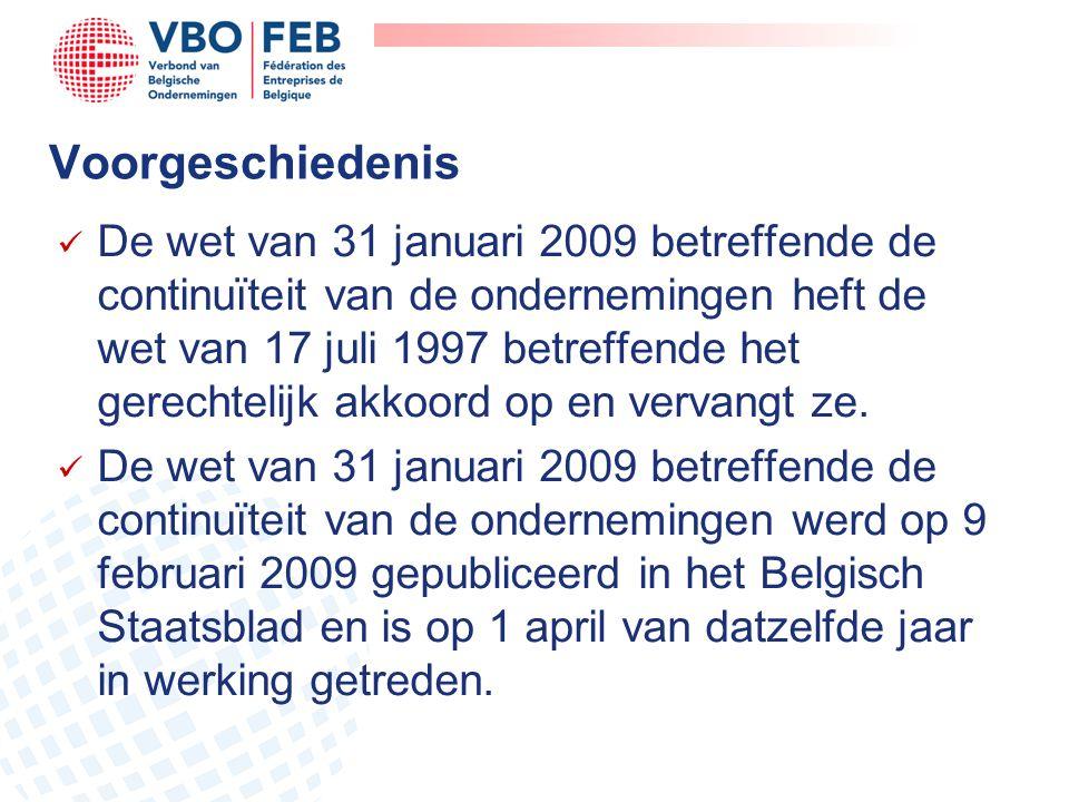 Voorgeschiedenis  De wet van 31 januari 2009 betreffende de continuïteit van de ondernemingen heft de wet van 17 juli 1997 betreffende het gerechteli