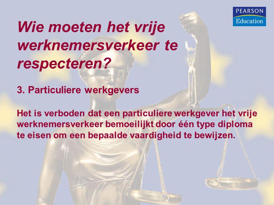 Wie moeten het vrije werknemersverkeer te respecteren? 3. Particuliere werkgevers Het is verboden dat een particuliere werkgever het vrije werknemersv