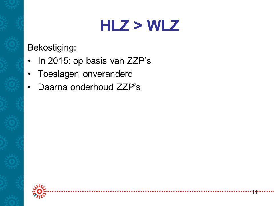 HLZ > WLZ Bekostiging: •In 2015: op basis van ZZP's •Toeslagen onveranderd •Daarna onderhoud ZZP's 11