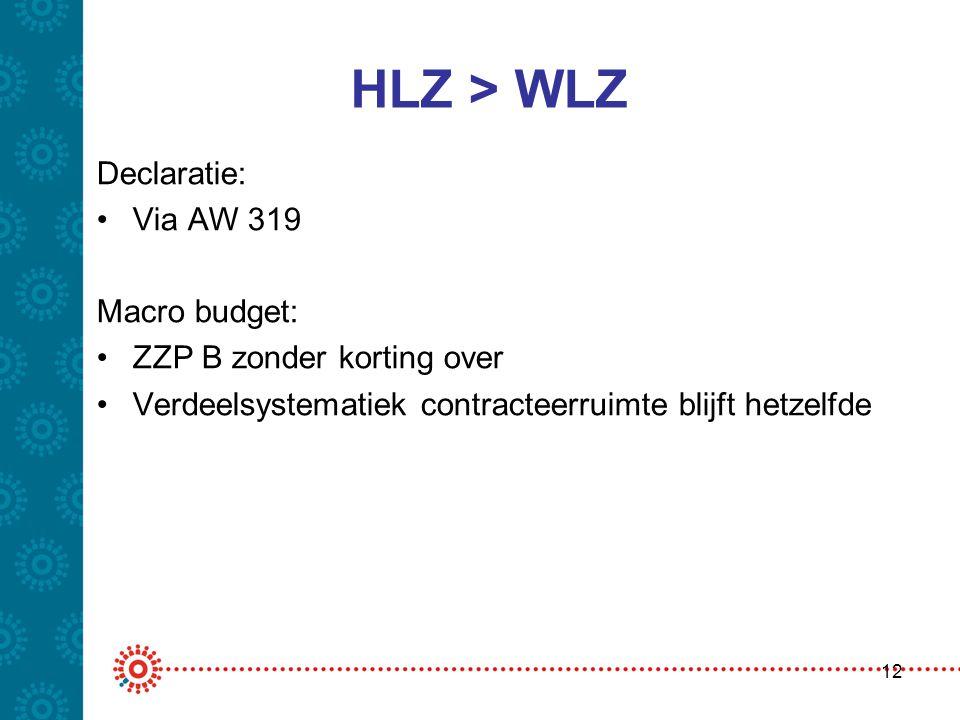 HLZ > WLZ Declaratie: •Via AW 319 Macro budget: •ZZP B zonder korting over •Verdeelsystematiek contracteerruimte blijft hetzelfde 12