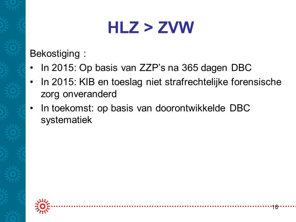 HLZ > ZVW Bekostiging : •In 2015: Op basis van ZZP's na 365 dagen DBC •In 2015: KIB en toeslag niet strafrechtelijke forensische zorg onveranderd •In