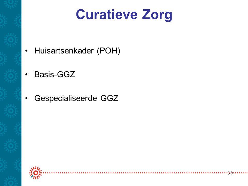 Curatieve Zorg •Huisartsenkader (POH) •Basis-GGZ •Gespecialiseerde GGZ 22