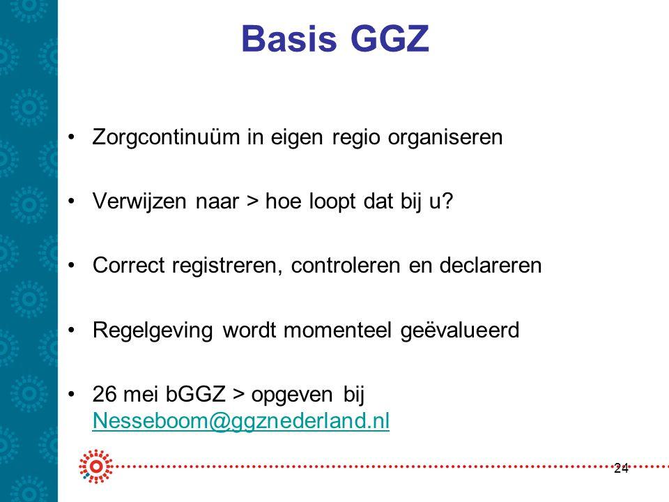 Basis GGZ •Zorgcontinuüm in eigen regio organiseren •Verwijzen naar > hoe loopt dat bij u? •Correct registreren, controleren en declareren •Regelgevin