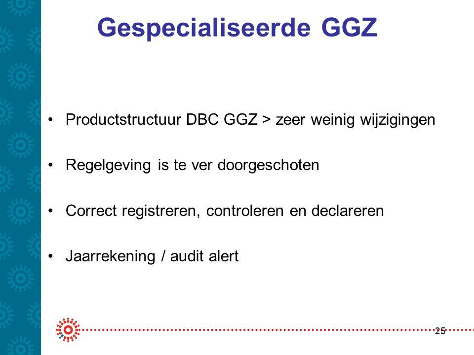 Gespecialiseerde GGZ •Productstructuur DBC GGZ > zeer weinig wijzigingen •Regelgeving is te ver doorgeschoten •Correct registreren, controleren en dec