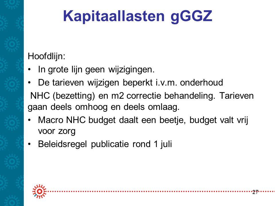 Kapitaallasten gGGZ Hoofdlijn: •In grote lijn geen wijzigingen. •De tarieven wijzigen beperkt i.v.m. onderhoud NHC (bezetting) en m2 correctie behande
