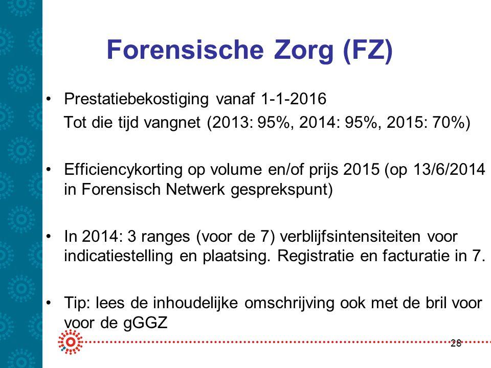 Forensische Zorg (FZ) •Prestatiebekostiging vanaf 1-1-2016 Tot die tijd vangnet (2013: 95%, 2014: 95%, 2015: 70%) •Efficiencykorting op volume en/of p