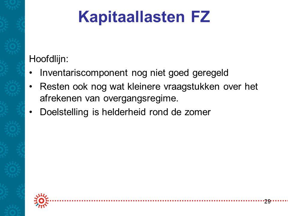 Kapitaallasten FZ Hoofdlijn: •Inventariscomponent nog niet goed geregeld •Resten ook nog wat kleinere vraagstukken over het afrekenen van overgangsreg