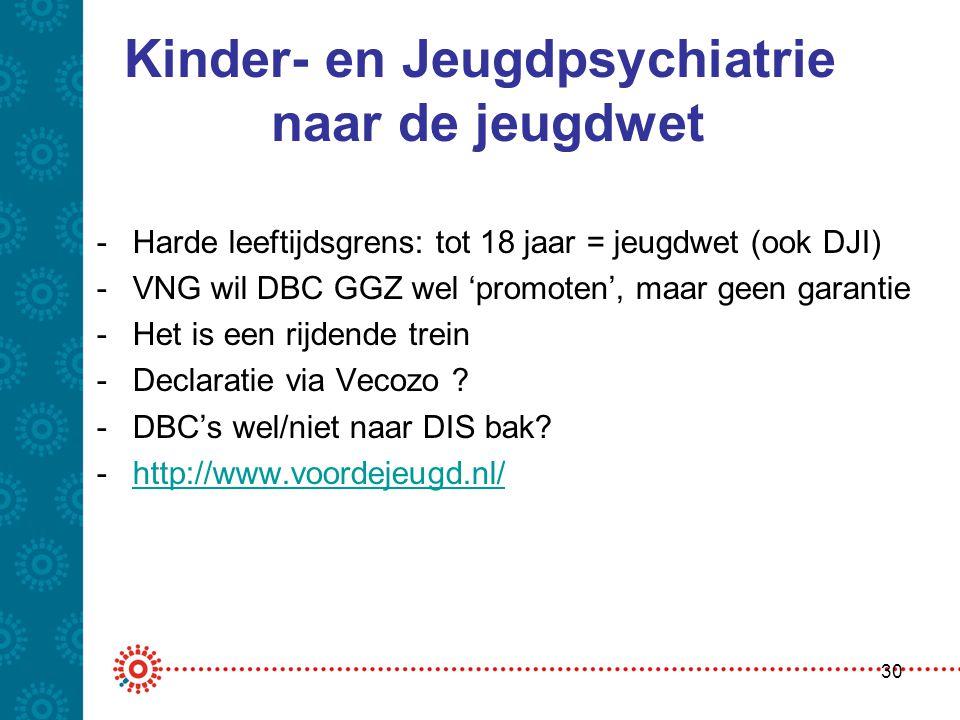 Kinder- en Jeugdpsychiatrie naar de jeugdwet -Harde leeftijdsgrens: tot 18 jaar = jeugdwet (ook DJI) -VNG wil DBC GGZ wel 'promoten', maar geen garant
