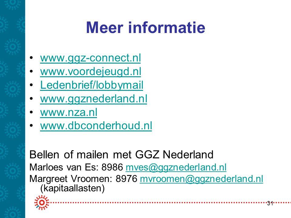 Meer informatie •www.ggz-connect.nlwww.ggz-connect.nl •www.voordejeugd.nlwww.voordejeugd.nl •Ledenbrief/lobbymailLedenbrief/lobbymail •www.ggznederlan