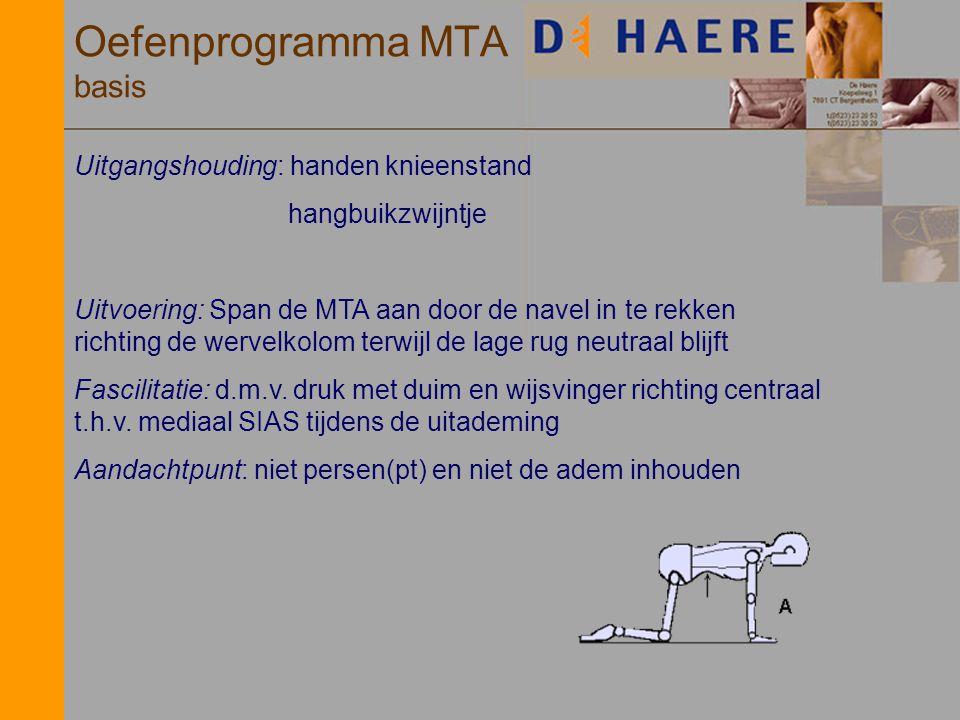 Oefenprogramma MTA basis Uitgangshouding: handen knieenstand hangbuikzwijntje Uitvoering: Span de MTA aan door de navel in te rekken richting de werve