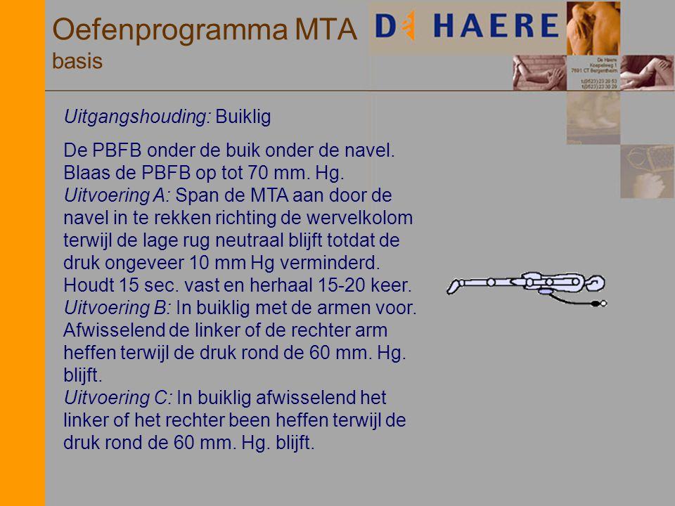Oefenprogramma MTA basis Uitgangshouding: Buiklig De PBFB onder de buik onder de navel. Blaas de PBFB op tot 70 mm. Hg. Uitvoering A: Span de MTA aan