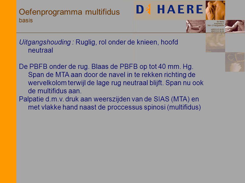 Oefenprogramma multifidus basis Uitgangshouding : Ruglig, rol onder de knieen, hoofd neutraal De PBFB onder de rug. Blaas de PBFB op tot 40 mm. Hg. Sp