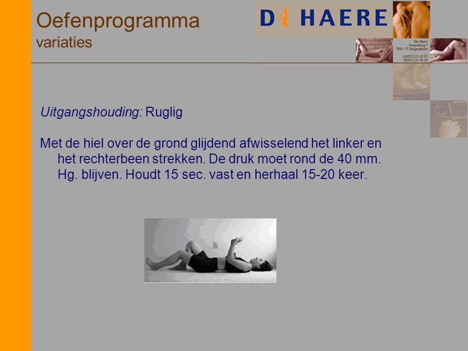 Oefenprogramma variaties Uitgangshouding: Ruglig Met de hiel over de grond glijdend afwisselend het linker en het rechterbeen strekken. De druk moet r