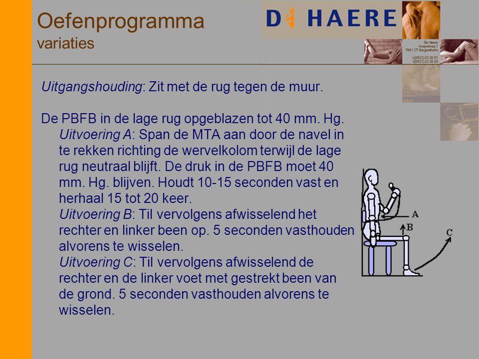 Oefenprogramma variaties Uitgangshouding: Zit met de rug tegen de muur. De PBFB in de lage rug opgeblazen tot 40 mm. Hg. Uitvoering A: Span de MTA aan