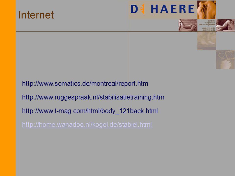 Internet http://www.somatics.de/montreal/report.htm http://www.ruggespraak.nl/stabilisatietraining.htm http://home.wanadoo.nl/kogel.de/stabiel.html ht