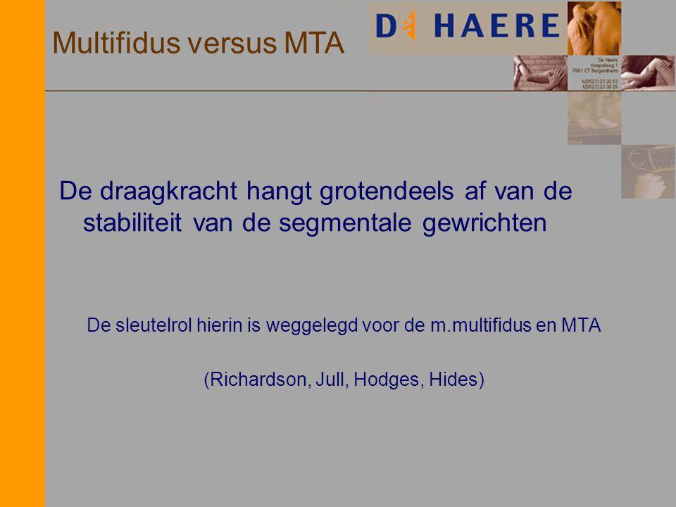 De draagkracht hangt grotendeels af van de stabiliteit van de segmentale gewrichten De sleutelrol hierin is weggelegd voor de m.multifidus en MTA (Ric
