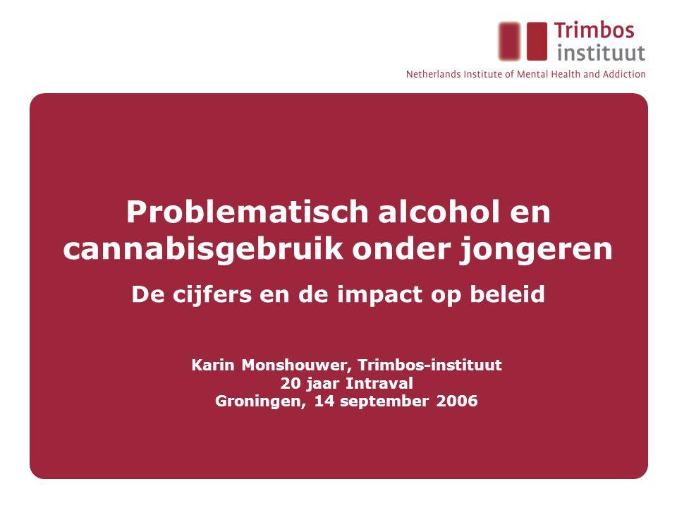 Problematisch alcohol en cannabisgebruik onder jongeren De cijfers en de impact op beleid Karin Monshouwer, Trimbos-instituut 20 jaar Intraval Groningen, 14 september 2006