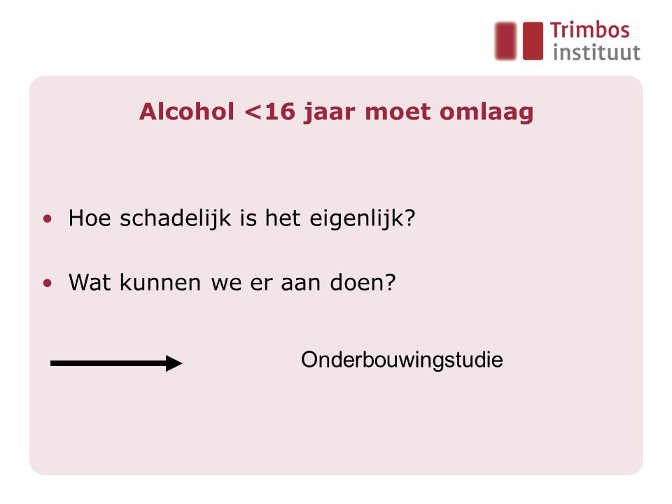 Alcohol <16 jaar moet omlaag •Hoe schadelijk is het eigenlijk.