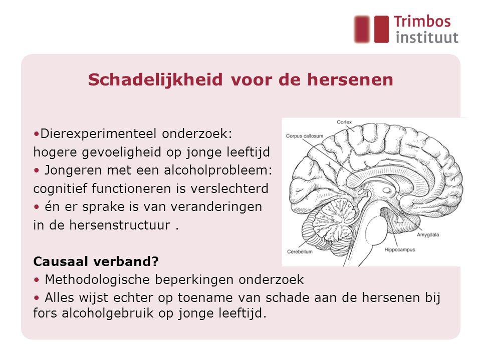 Schadelijkheid voor de hersenen •Dierexperimenteel onderzoek: hogere gevoeligheid op jonge leeftijd • Jongeren met een alcoholprobleem: cognitief functioneren is verslechterd • én er sprake is van veranderingen in de hersenstructuur.