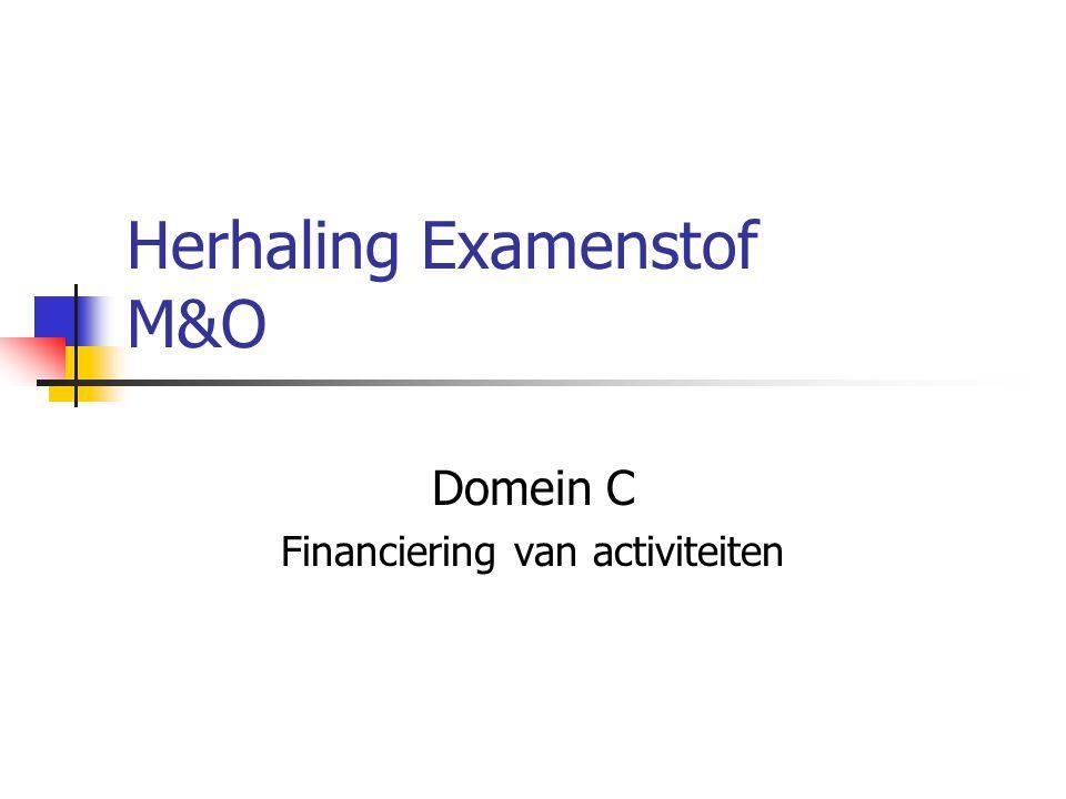 Herhaling Examenstof M&O Domein C Financiering van activiteiten