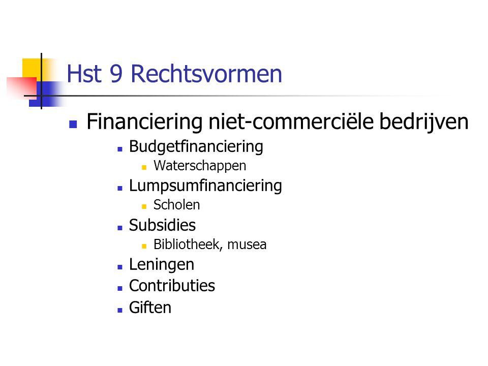 Hst 9 Rechtsvormen  Financiering niet-commerciële bedrijven  Budgetfinanciering  Waterschappen  Lumpsumfinanciering  Scholen  Subsidies  Bibliotheek, musea  Leningen  Contributies  Giften